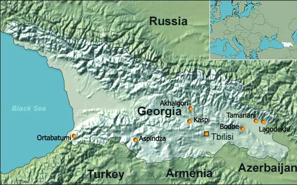 Map of PHC Centers and charity activities of the Genesis Association in Georgia